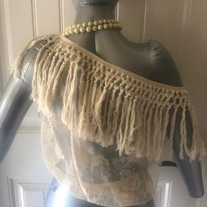 Tops - New with not tags crochet and transparent Blouse